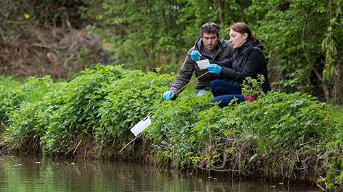 Image of volunteers sampling by a river. © John Hunt.